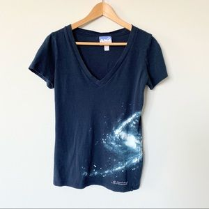 Women's Medium Space Galaxy V-neck T-shirt